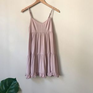AEO | Ruffled Babydoll Tiered Dress Blush Small
